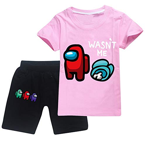 JDSWAN Unisex Niños Conjunto Camiseta de Manga Corta y Negro Pantalones Cortos...