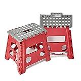 Taburete Multiuso Plegable con Asa, 32 cm de Altura | Uso versátil para Camping, Pesca y o Trabajos puntuales en jardinería (Rojo-Gris)