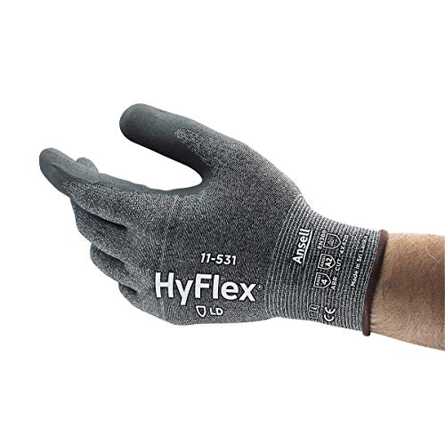 Ansell HyFlex 11-531 Gray 6 INTERCEPT Yarn/Nitrile Cut-Resistant Glove - ANSI 2 Cut Resistance - Nitrile Palm Coating - 11-531/6 [PRICE is per PAIR]