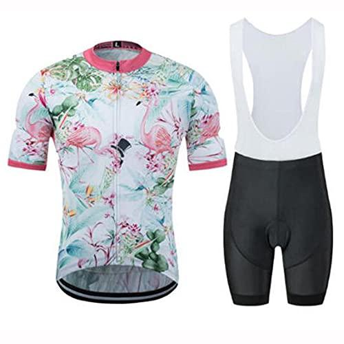 HXTSWGS Ciclismo para Hombre de Equipos Ciclismo Ropa,Traje de Ciclismo de Verano, Pantalones Cortos con Tirantes de Camisa de Manga Corta, Traje de Montar en Bicicleta-A_XL