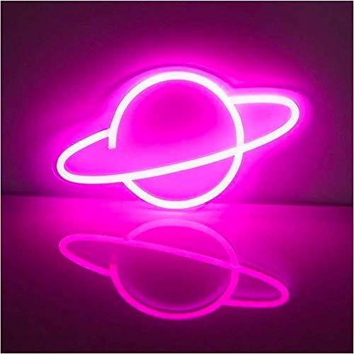 DEDC Planet Neonlicht, LED-Schilder, Wanddekoration, niedliche Wand-Nacht-Schilder, batterie- oder USB-betriebene Neonlichter Dekoration, 30 x 18 cm (Pink)