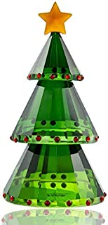 H&D Green Crystal Glass Christmas Tree Holiday Figurine with Gift Box