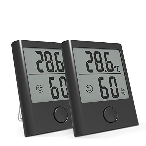 BACKTURE 2 Stück Thermometer Hygrometer, Tragbares Digital Innen/Außen Thermo-Hygrometer mit Hohe Genauigkeit,Klare Temperatur und Luftfeuchtigkeit für Babyraum,Wohnzimmer,Büro,Ausflug etc