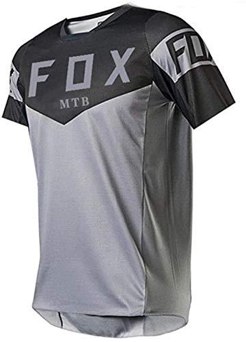 Fahrrad-Fahrradbekleidung Für Männer,MTB Jersey Trek,Herren Downhill Trikots Kurzarm MTB Fox Mountainbike Shirts Offroad Dh Motorrad Trikot Motocross Sportwear Fxr L