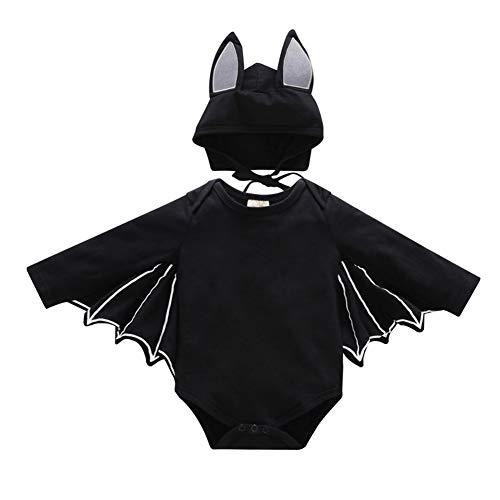 Halloween Bat Costume Cosplay per Bambina Pagliaccetto Cappello Abiti Travestimento da Tuta Pipistrello ali di Cappuccio Vampirina Carnevale Compleanno Vestiti per Ragazzi Neonato 6-12 Mesi