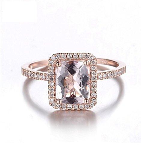 Gowe massiv 14K Rose Gold 8x 6Kissen Schnitt 1,12ct Morganit Pavé 0,2ct, natürliche Diamanten feine Edelstein Ring für Damen-Schmuck