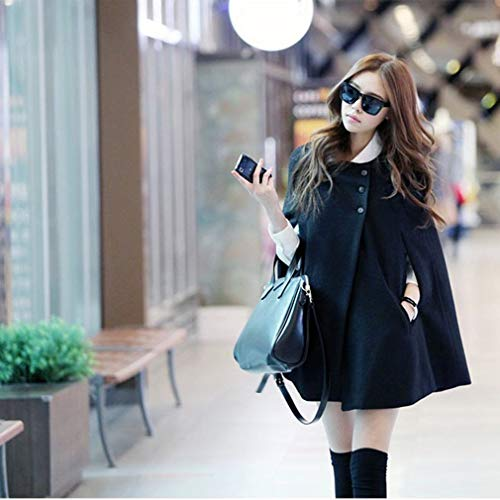 Women Winter Batwing Woolen Loose Hooded Collar Long Sleeve Cloak Coat Capes