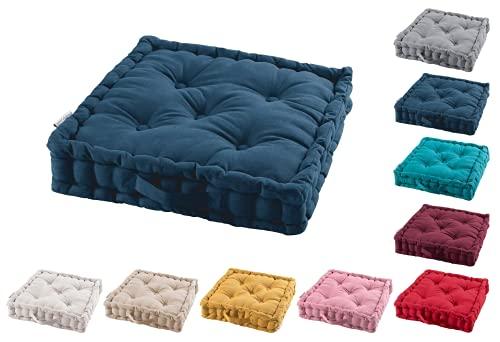 TIENDAEURASIA® Cojines de Suelo - 100% Algodón Lisa - Ideal para sillas, Bancos, palets, Suelos - Uso Interior y Exterior (Azul Marino, 45 X 45 x 10 cm)