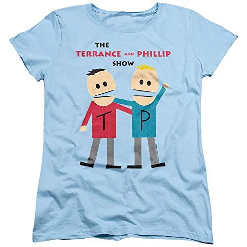 Logovision South Park Terrance and Phillip Women's T Shirt,Light Blue, Medium
