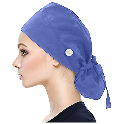 wrasf Work Hat with Ponytail Bag, Adjustable Lace-Up Back Hat with Buttons and Sweatband, Nurse Hat, Beautician Gourd Hat, Long Hair Turban Hair Cover