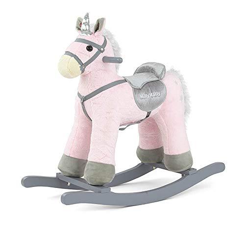 PEPE Morbido cavallo a dondolo peluche animale a dondolo giocattolo a dondolo in 5 colori con effetti sonori per bambini piccoli (3-5 anni):, Model:Rosa