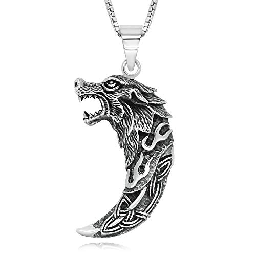 925 Sterling Silver Celtic Wolf Tooth Pendant Necklace, 18'