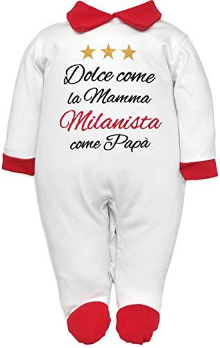 Pijama de bebé nacido para fanáticos de la Juventus, Interistas y Milanistas con frase divertida bordada, dulce como la madre y aficionado como papá. Pelele de algodón Milan 6-9 Meses