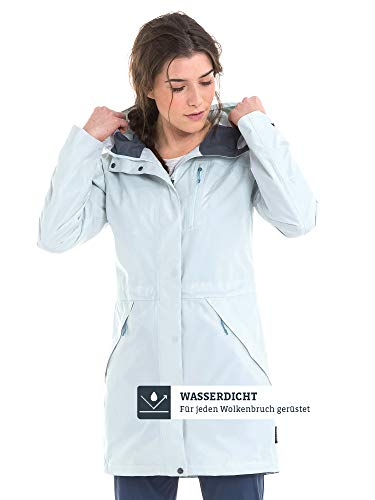 Schöffel Damen Parka Malmö1 wasserdichte Regenjacke für Frauen mit praktischen Taschen, modische und leichte Jacke für Frühling und Sommer, blau (blue flower), M/38