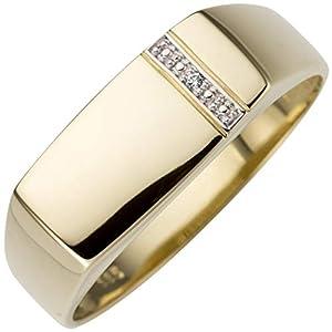 JOBO Herren-Ring aus 585 Gold mit Diamant Größe 62