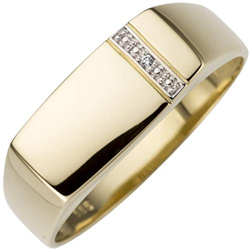 JOBO Herren-Ring aus 585 Gold mit Diamant Größe 64