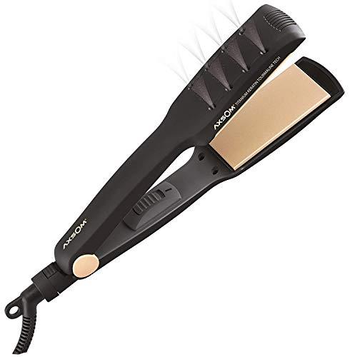 Plancha para Pelo Húmedo y Seco Fluxion TKT de Axsom, Plancha de Pelo Con placas de titanio aceite de Keratina y Turmalina, Función Iónica, ingeniería de Cuidado y protección avanzada del pelo.
