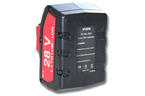 vhbw Li-Ion Akku 2000mAh (28V) für Werkzeuge Milwaukee V28PD, V28CS, V28CS/0, V28IW, V28HX, V28H wie 48-11-2830, 0700956730.