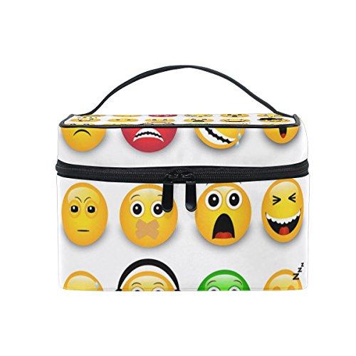 COOSUN Bolso cosmético amarilla Emoticonos Emojis lienzo Viaje Neceser Top Mango de una sola capa de maquillaje caso de la bolsa cosmética para el organizador de múltiples funciones Grande Multicolo