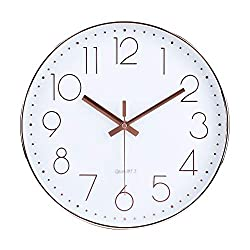 12 Inch Modern Wall Clock Silent Non-Ticking Quartz Sweep Decorative Battery Operated Wall Clocks for Home Living Room Bathroom School (Rose Gold)