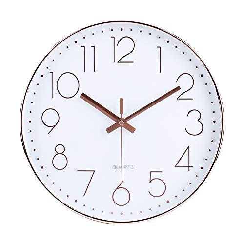 30cm Modern Quartz Lautlos Wanduhr Schleichende Sekunde ohne Ticken Analoge Wanduhr Rosegold Uhr