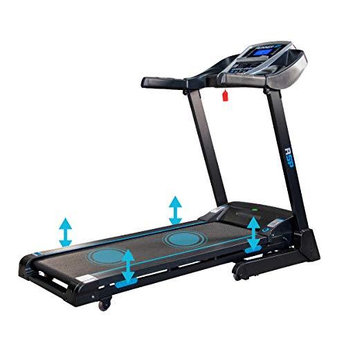 Sparraw Fitnes - Cinta de Correr Plegable RSP – 16 km/h – 2,0 CV – 13 programas – Inclinación motorizada al 15%, sensores cardiacos, Pantalla LCD, Bluetooth y Altavoces