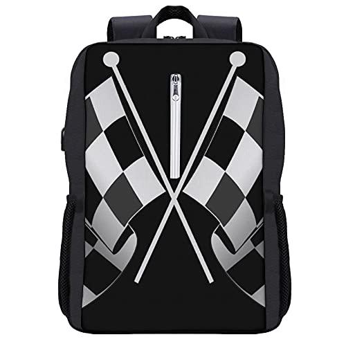 LUDOAN Mochila del viaje, Dos banderas a cuadros en blanco y negro,bolso durable delgado antirrobo del ordenador portátil del negocio con el puerto de carga