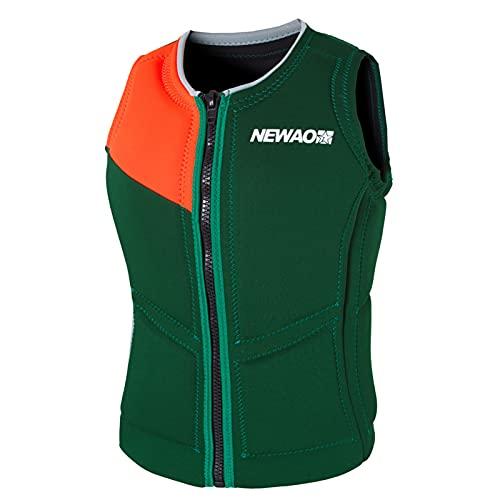FSDH Chaqueta de Rescate de Nylon Impermeable con cinturón de Seguridad Ajustable, Chaleco de natación para Adultos, Chaleco de Vida de Pesca de Primeros Auxilios de kaya Green-XXL
