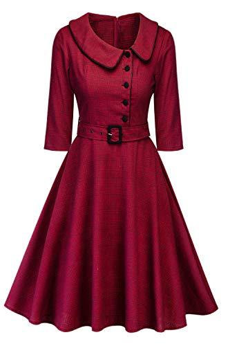 Le Donne Vestono Classico Risvolto Alta Vita Swing Vestiti Vintage Red M
