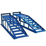HELO 2 Stück KFZ Auffahrrampe blau 2000 kg Belastung pro Paar (max. 245 mm Reifenbreite), PKW Rampe...