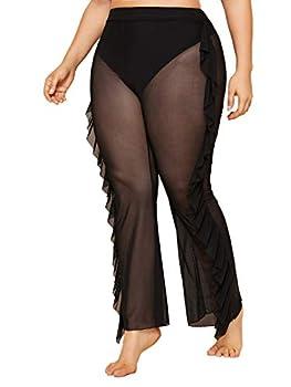 Floerns Women s Plus Size Sheer Mesh Ruffle Beach Bottom Cover up Pants Black 4XL