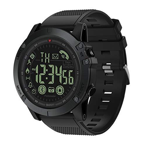 KLAYL Reloj Inteligente Bluetooth V4.0 Pulseras Inteligentes Deportes al Aire Libre Impermeable, Espera Larga, Reloj Inteligente, Reloj Táctico Militar Remoto, Negro