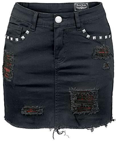 Rock Rebel by EMP Destroyed Mini Mujer Minifalda Negro S, 68% Algodón,30% Poliester,2% elastán,