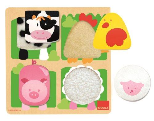 Goula - Puzzle granja tela, Encajable de madera y texturas para niños a partir de 1 año