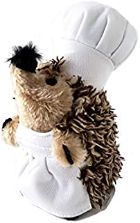 Chef Hedgehog Dog Toys Chewer - Chef Spike Dog Toy Squeaker & Crinkle Bottle 2 in 1 Stuffed Plushie - Hedgehog Dog Chew Toy for Small, Medium, and Large Dogs - Cute Dog Toys by Lily Anne (Single)