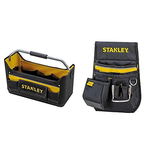 STANLEY 1-96-182 Bolsa de Herramientas Abierta, 44.7 x 25.1 x 27.7 cm + 1-96-181 Cinturón portaherramientas