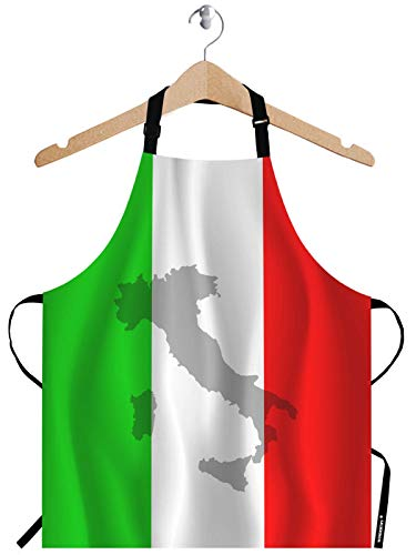 WONDERTIFY Italian Flag Apron,The Contour of Italian Territory is Printed on The Flag Bib Apron with Adjustable Neck for Men Women,Suitable for Home Kitchen Cooking Waitress Chef Grill Bistro Apron