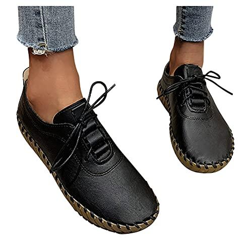 FACAIAFALO Mocasines Zapatillas Mujer Cuero Casuales Zapatos Trabajo Ligeras Ponerse Centavo ConduccióN Barco Vestido Formal Zapatos Planos Con Cordones Cerrados