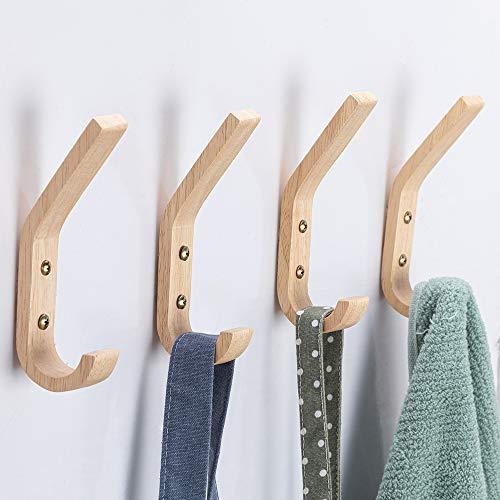 Wood Hooks Wall Mounted Coat Hooks Vintage Single Wall Hooks Organizer Heavy Duty for Towel Hat Hanging 4 Pack Oak