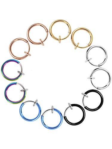 Sunnysam 12 piezas falsos pendientes de nariz, labio, anillos de clip sin perforar, aros para el cuerpo, joyería para hombres y mujeres, 6 colores