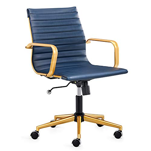 LUXMOD Gold Office Chair in Blue Leather, Mid Back Office Chair with Armrest, Blue and Gold Ergonomic Desk Chair for Back Support, Modern Executive Chair Blue and Gold,Gold Swivel Chair Blue