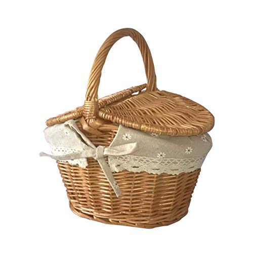 Wicker Picnic Baskets Hamper with Lid And Handle, Wicker Baskets Oval Willow Woven Picnic Basket Candy Basket Storage Basket for Wedding, 25X18x14cm