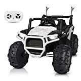 BAHOM 12V Electric Ride on Truck Car 2 Seats for Kids with Parental Remote Control, LED Light MP3/Bluetooth Music Player, Easy to Assemble (White)