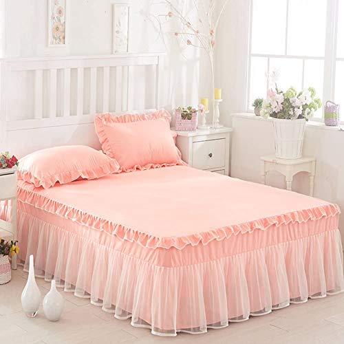 Siunwdiy Onduleux Dentelle Jupe de lit, Ensemble Romantique Linge de lit, Jupe de lit avec des Volants, (1 Jupe de lit, 2 taies d'oreiller),Pink Rice,180x220cm