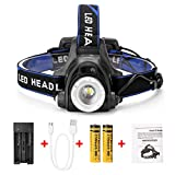LED Headlamp with Sensor Function Zoom Function Ultra-bright Waterproof USB Rechargeable Helmet Light
