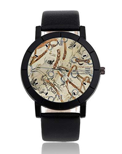 Armbanduhr mit Pferde-Sattel, personalisierbar, leger, schwarzes Lederband, Armbanduhr für Herren und Damen, Unisex