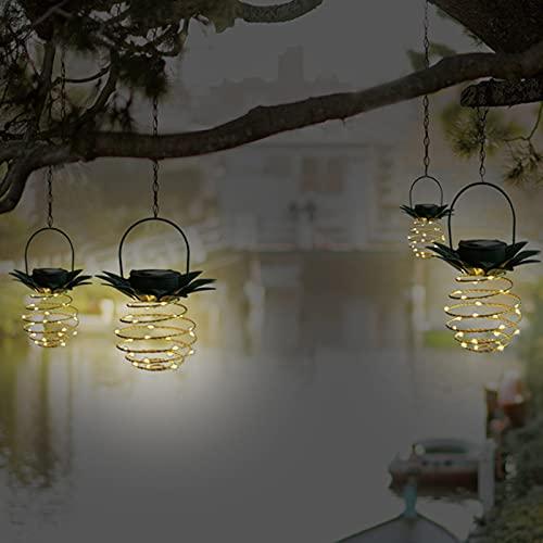 Paquete de 4 luces colgantes solares en espiral, faroles de arte de hierro, lámpara colgante LED impermeable para jardín, patio, camino, decoraciones de árbol de patio (4 unidades de 24 LED)