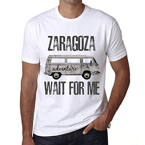 Hombre Camiseta Vintage T-Shirt Gráfico Zaragoza Wait For Me Blanco