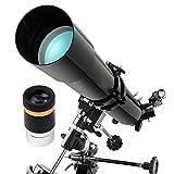 Telescopio De Refractor De 80 Mm para Astronómico, Telescopios para Niños Principiantes Adulto con Trípode Ajustable && Buscador Alcance Niños Niños Adolescentes