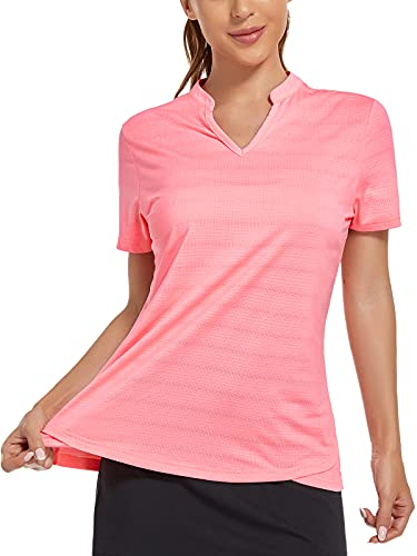 MIER Women's Golf Polo Shirts Collarless UV Sun Protection Short Sleeve Tennis Workout Tee Lightweight Quick Dry Casual Summer Henley Blouse Pink L